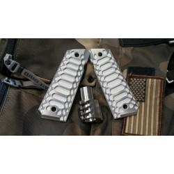 [STAINLESS] Predator Muzzle Brake + [BRUSHED] Cobra Grips + FREE Spring Plug