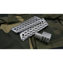 "Satin Punisher Muzzle Brake and Matching Brushed ""Hive"" Grips COMBO + FREE Spring Plug"